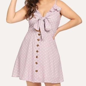 Purple/Pink Polka Dot Dress with Cut Out